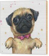Cute Pug Puppy Wood Print
