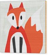 Cute Red And White Fox- Art By Linda Woods Wood Print