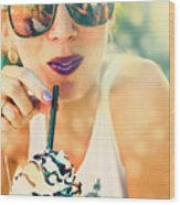 Cute Retro Girl Drinking Milkshake Wood Print