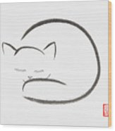 Cute Sleeping Cat Japanese Zen Sumi-e Painting On White Rice Pap Wood Print
