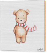 Cute Teddy Bear With Red And White Scarf Wood Print
