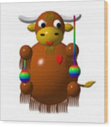 Cute Yak With Yo Yos Wood Print