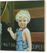 Cutie By The Train Wood Print