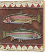 Cutthroat And Rainbow Trout Lodge Wood Print by JQ Licensing