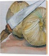 Cutting Onions Wood Print