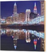 Cuyahoga Reflecting The City Above Wood Print