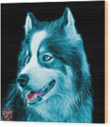 Cyan Modern Siberian Husky Dog Art - 6024 - Bb Wood Print