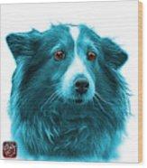 Cyan Shetland Sheepdog Dog Art 9973 - Wb Wood Print