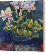 Cyclamen In A Vase Wood Print