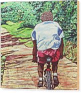 Cycling Home Wood Print