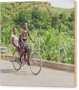 Cycling In Malawi Wood Print