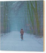 Cycling In The Snow Wood Print