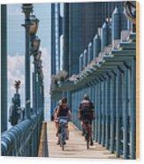 Cycling The Bridge Wood Print