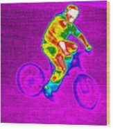 Cycling, Thermogram Wood Print by Tony Mcconnell