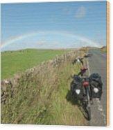 Cycling To The Rainbow Wood Print