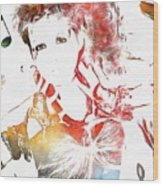 Cyndi Lauper Watercolor Wood Print