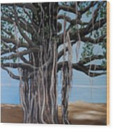 Cypress On The Shore  Wood Print