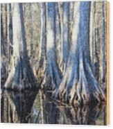 Cypress Reflection Wood Print