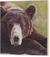 Da Bear Wood Print by Billie Colson