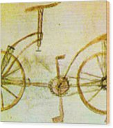 Da Vinci Inventions First Bicycle Sketch By Da Vinci Wood Print