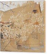 Dacha In Spring Wood Print