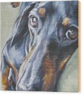 Dachshund Black And Tan Wood Print