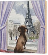 Dachshund In Paris Wood Print