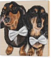 Dachshunds And Bowties Wood Print
