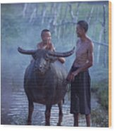 Dad And Child Happy To Live In The Countryside,thailand, Vietnam Wood Print
