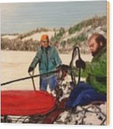 Dad And Denny In A Winter Field Wood Print
