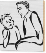 Dad And Son Wood Print
