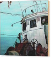 Dad In The Superior's Wheelhouse Wood Print