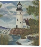 Dads Lighthouse Wood Print
