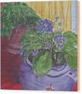 Dads Violets Wood Print