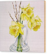 Daffodils And Pussy Willow Wood Print