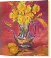 Daffodils And Teapot Wood Print