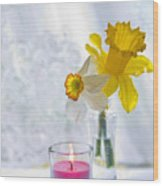Daffodils And The Candle Wood Print