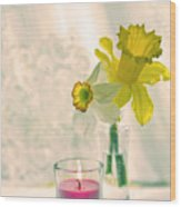 Daffodils And The Candle V3 Wood Print