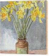 Daffodils In A Pot. Wood Print