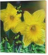 Daffodils In The Garden Wood Print