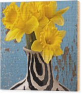 Daffodils In Wide Striped Vase Wood Print