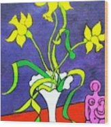 Daffodils With Abstract Sculpture Wood Print