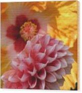 Dahlia With Hibiscus Wood Print