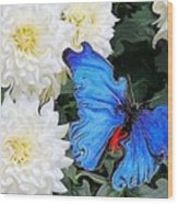 Dahlias And The Butterfly Wood Print