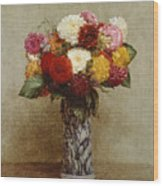 Dahlias In A Chinese Vase Wood Print