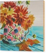 Dahlias In A Painted Cup Wood Print