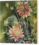 Dahlias In Autumn Wood Print