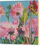 Dahlias Victoria Wood Print