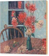 Dahlias With Red Cup Wood Print