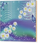 Daisies And Butterflies On Blue Background Wood Print